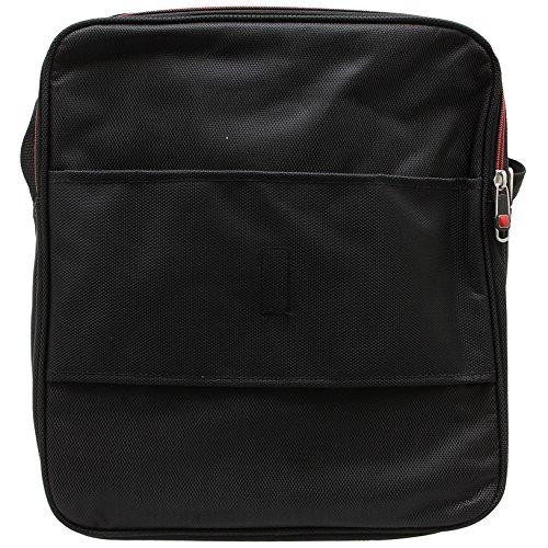 Arbeitstasche Herren groß Umhängetasche Schultertasche Flugumhänger Messenger Bag Boardcase Hochformat Herrentasche hochwertiges Nylon schwarz Schwarz