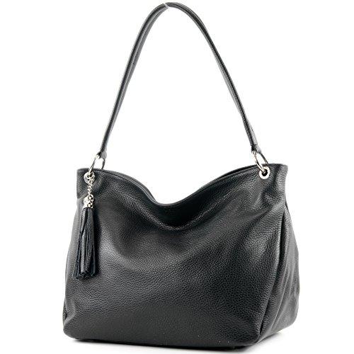 modamoda de - ital. Ledertasche Damentasche Schultertasche Umhängetasche Echtleder T154, Präzise Farbe:Schwarz (Handtasche Italienische Leder Schwarze)