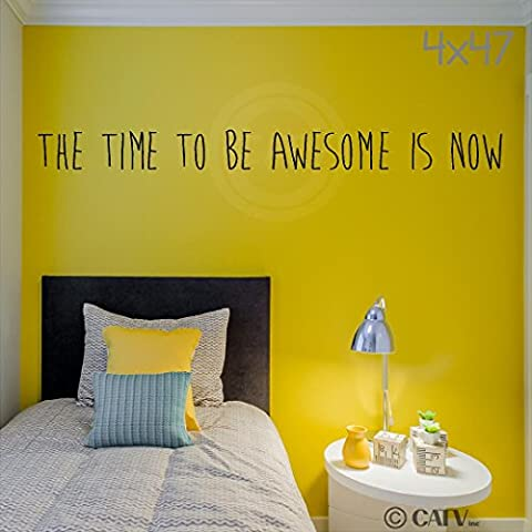 The time to be awesome is now vinyl lettering wall decal(Black, 4