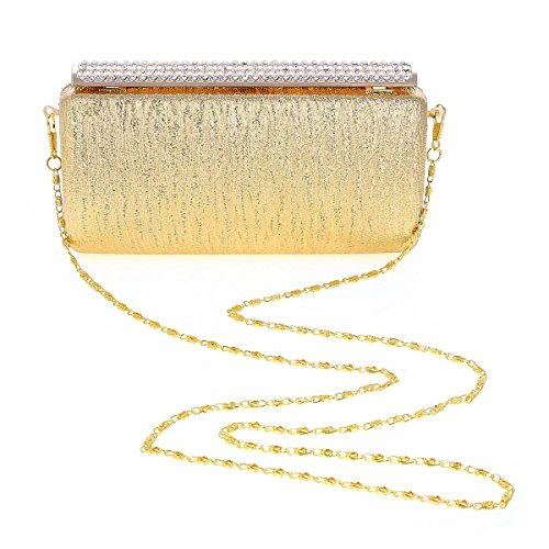 Damara® Damen Strassstein Clutch Elegant Taschen Für Hochzeit Champagne