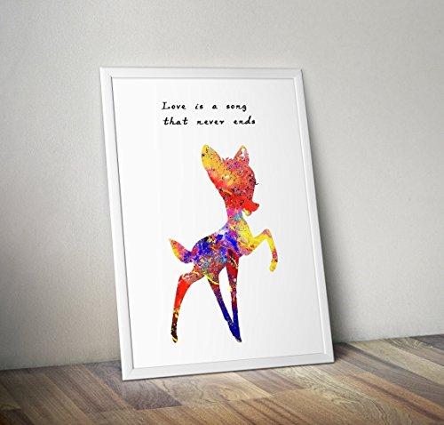 Bambi inspirierte Aquarell Poster - Zitat - Alternative TV/Movie Prints in verschiedenen Größen (Rahmen nicht im Lieferumfang enthalten)