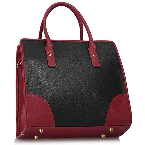 TrendStar Damen Shopper Handtasche Große Leder Womens Maxi-Tasche Tote-Schulter-Designer. Schwarz/Weiß/Burgund