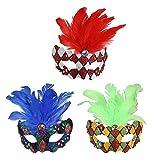 Jannes 2182 Venezianische Maske Domino Mini mit Feder Maske Venedig Venezianisch venezianischer Karneval Pestmaske Maskenball Venezia Vogelmaske Einheitsgröße Rot/Gelb