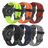 MoKo Correa para Garmin Fenix 3 / Fenix 5X Watch, 6 Pieza Pulsera de Suave Silicona, (6PCS) Banda Deportiva para Garmin Fenix 3 / Fenix 3 HR/Fenix 5X Watch,(No Apto para Fenix 5) - Multicolor 1