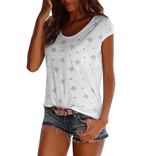CAOQAO Damen Oansatz äRmellose Mode Frauen Sommer Lose Kurzarm Stern Gedruckt LäSsige T-Shirt Bluse Tops(2XL,White) (Kostüm Elvis Frau)