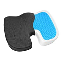 Gel Enhanced Seat Cushion - Non-Slip Orthopedic Gel & Memory Foam Coccyx Cushion for Tailbone Pain - Office Chair Car Seat Cushion - Sciatica & Back Pain Relief
