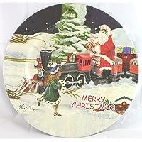 """Piatto Vassoio tondo """"Merry Christmas"""" Babbo Natale in Plastica rigida Diad.32,5cm - Piatto da portata, Sottopiatto, confezione per panettoni e regali di Natale"""