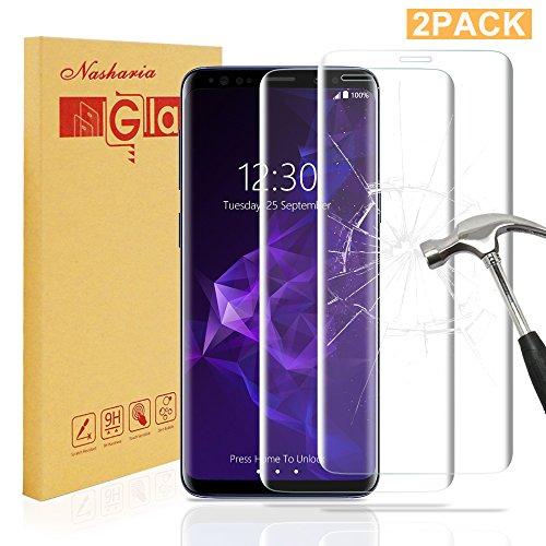 [2 Stück] Galaxy S9 Plus Panzerglas Schutzfolie, Nasharia 9H Härtegrad, 99{e570c7fac1ea7274522e3a30289f90abf350ac02ce337fbbca548020ec0dc114} Transparenz Full HD, Anti-Fingerabdruck Hohe Qualität Gehärtetem Glass, Anti-Kratzer Displayschutz Für Samsung Galaxy S9 Plus