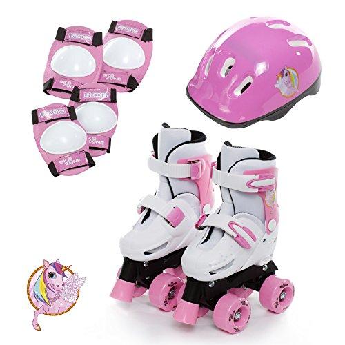 Sk8 Zone Girls Unicorn Design Pink White Quad Skates Kids Padded Roller Boots Childrens Safety Pads Helmet Skate Set Size 9-12