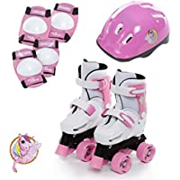 Sk8 Zone Girls Unicorn Design Pink White Quad Skates Kids Padded Roller Boots Childrens Safety Pads Helmet Skate Set Size 9-12