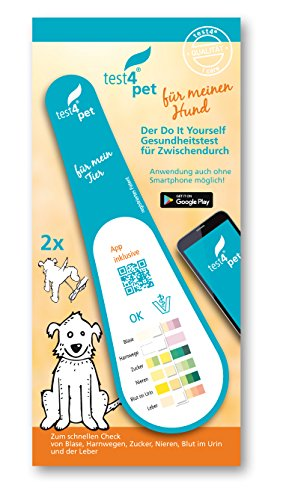 test4pet, Gesundheitstest Hund, 2x1er Schnelltest für Blase, Harnwege, Nieren, Zucker, Blut im Urin und der Leber, inkl. intelligenter App, auch bei Krankheitssymptomen oder für die Reiseapotheke - Ergänzung Behandeln