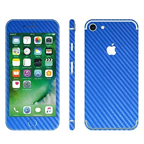 IPHONE 7 BLAU CARBON FOLIE SKIN ZUM AUFKLEBEN bumper case cover schutzhülle i phone (Iphone 4 Gold Aufkleber Skin)