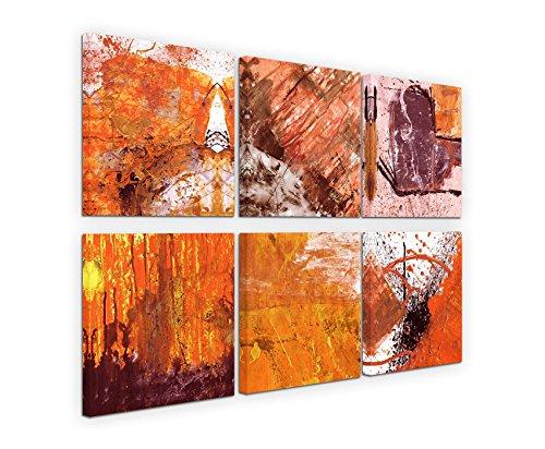 Esclusiva immagini infilate su tela (6pezzi 30x 30cm)-Astratto Rose Quartz Mauve Terra Cotta lebhaft