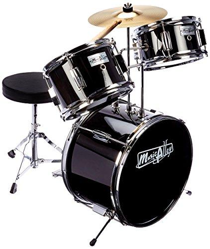 Music Alley DBJK02-BK Kids 3-Piece Beginners Drum Kit - Black