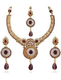 Variation Wedding Designer Gold Plated Pink Necklace Set For Women-VD15049