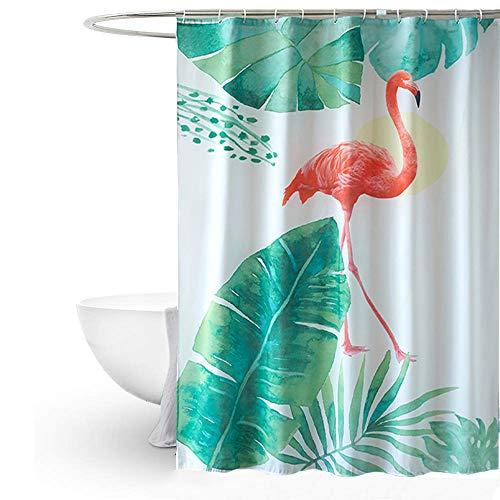 MYQIANG Flamingo Duschvorhang Anti-Schimmel Textil Waschbar Grünes Tropical Palm Blätter Polyester Wasserdicht Duschvorhang für Badewanne 180x180cm mit Vorhanghaken (Flamingo Duschvorhang)