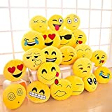#7: BALAJI FAB Emoji Smiley Fabric Cushions Pillows (12x12 Inches, Yellow) - Set of 10