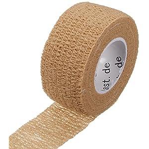 Happyplast 5x Pflaster, Pflaster ohne Kleber, Pflasterverband, Fingerpflaster, wasserfest, elastisch, Pflasterbandage; 2,5 cm Breite, 4,5 m Länge, hautfarben