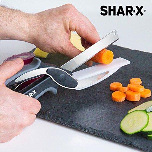 Shar-x blade & board coltello forbici con mini tagliere di integrata, acciaio inox, nero, 25x 3x 7cm