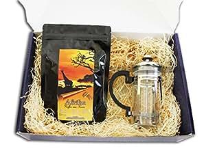 "Kaffee Geschenk Set "" Kenia African Night II "" 250 g Kenia Kaffee mit Stempelkanne als Weihnachtsgeschenk (100g/7,56€)"