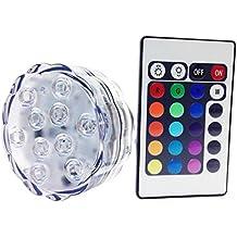 10 luci LED impermeabili sommergibili LED multicolore per la festa di nozze Piscina, Acquario, Decorazioni di Natale della luce con telecomando batteria alimentata