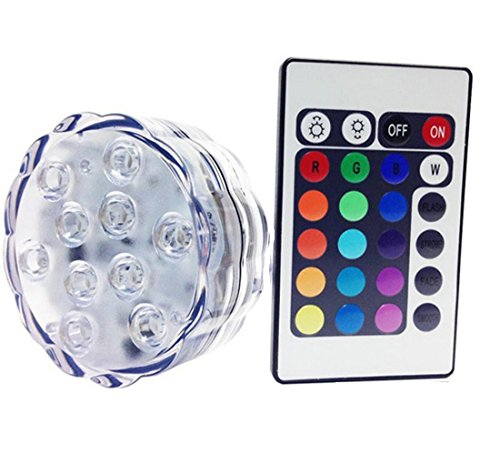 10 LED multi-couleur étanche Submersible lumières LED pour soirée de mariage Piscine, Fish Tank, Décorations de Noël Lumière Avec batterie Télécommande Powered