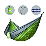 Camping Hammocks for Double & Single, Ultralight Portable Nylon Parachute Multifunctional Lightweight Hammocks for Backpacking, Travel, Beach, Yard, Including hanging Straps, Carabiners & Ropes included, Green, 270 x 150 cm, Apriller