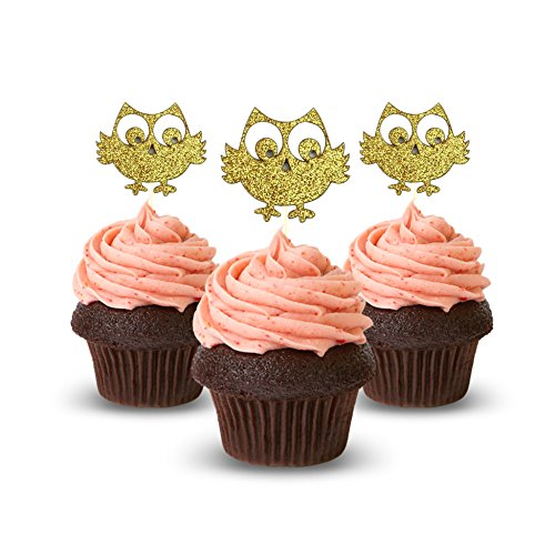 Eule Cupcake Topper Farbe Gold 12Stück Cupcake Topper Dekoration Kuchen Graduation Baby Dusche (Eulen Baby-dusche Dekorationen)