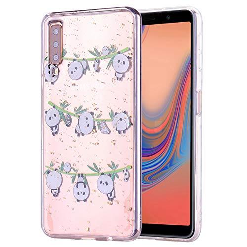 Misstars Glitzer Hülle für Samsung Galaxy A7 2018 / A750, Bling Pailletten Transparent Weich TPU Silikon mit Panda Bambus Malerei Muster Backcover Anti-Rutsch Kratzfeste Schutzhülle -
