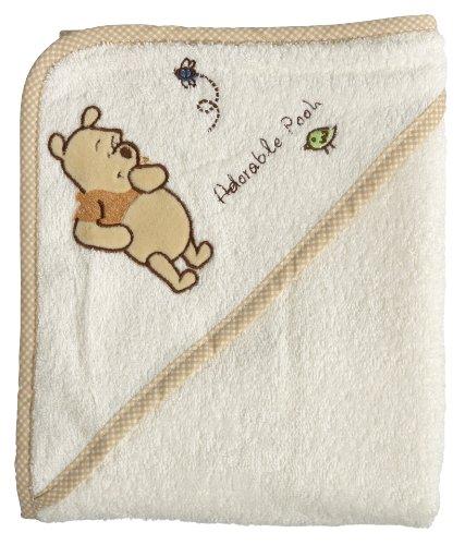 bébé-jou 301063 - Kapuzentuch Adorable Pooh Perlmutt, Größe: 75x85cm