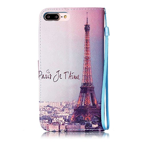 Custodia iphone 7 Plus, iphone 7 Plus Case, Cozy Hut ® Retro Colorful Drawing Art Painted Premium PU Leather Magnetic Flip Wallet Cover with Detachable Hand Lanyard & Card Slots & Stand Function for A Torre Eiffel