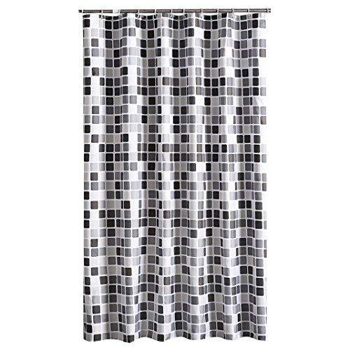 12 X 12 Mosaik (HuaForCity Duschvorhang aus Stoff Wasserdichter waschbarer Textil Anti-Schimmel Digitaldruck inkl. 12 Duschvorhangringe für Badezimmer (240 x 200cm, Mosaik))