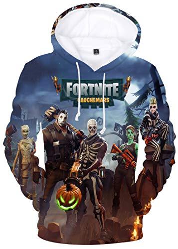 OLIPHEE Niño Camisetas de Manga Larga Impresa Patrón de FORTNITE para Unisex AH-L
