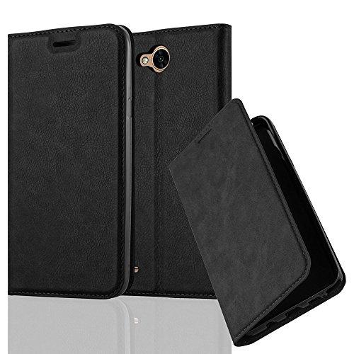 Cadorabo Hülle für LG X Power 2 - Hülle in Nacht SCHWARZ - Handyhülle mit Magnetverschluss, Standfunktion & Kartenfach - Case Cover Schutzhülle Etui Tasche Book Klapp Style