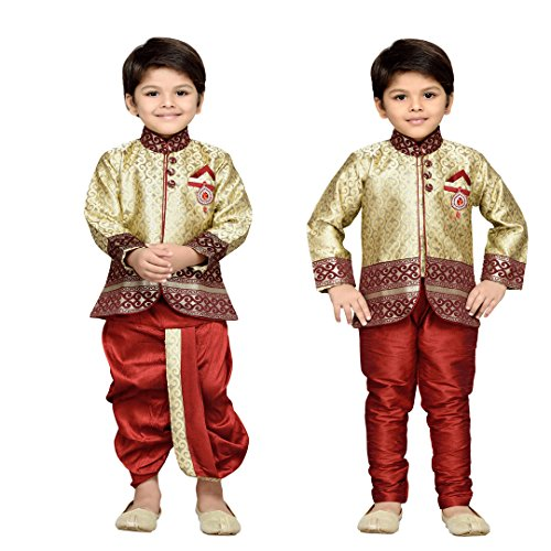 AJ Dezines Boys Indo Western Kurta Dhoti Pant Set for Kids (9001_MAROON_5)