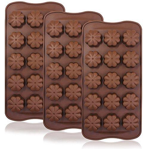 3pcs Trébol de cuatro hojas Chocolate Candy moldes, Finegood 15-cavity silicona reutilizable antiadherente sartenes, hecho a mano Jelly Ice Cube Fondant Postre Making, cocina para hornear decoración