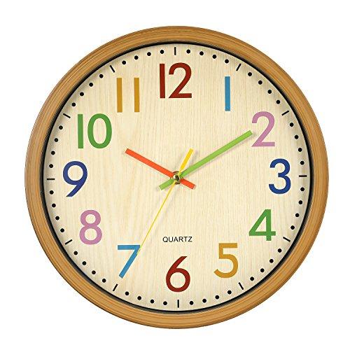 LENRUS Kinderwanduhr, 12.5 Zoll/32 cm Kinder Wanduhr mit lautlosem Uhrenwerk und farbenfrohen Zahlen, Nicht tickend, Gut ablesbares, Wohnaccessoires & Deko