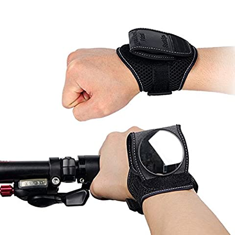 Wisamic Cycling Bicycle Bike Rear View Mirror Wrist Guards Wristbands Back Mirror Black