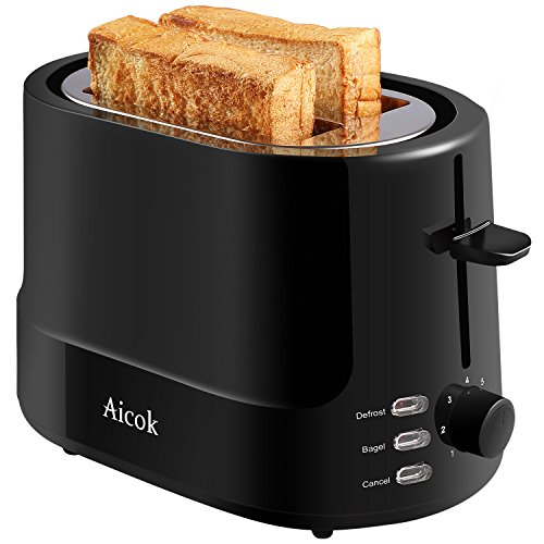 Aicok Toaster, Toaster mit 2 Scheiben, Professionelles Sandwich-Toaster 7 Stufen mit automatischer Erweiterung, Temperatur einstellbar und Abtaumodus, 850 W, Schwarz Standard Schwarz