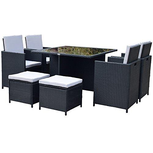 Polyrattan Lounge Gartenmöbel Set Garnitur Sitzgruppe Gartenmöbel SJ08 (Schwarz)