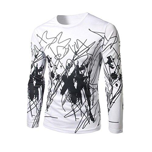 Elecenty Herren Langarmshirt 3D Drucken Sommerhemd Sommerbluse Pullover Bluse Slim Fit T-Shirt Männer Sweatshirts Streetwear Hemden Tops Hemd Tops Blusen Pulli Blusentop (XL, Weiß) (Plain-kragen-shirt)