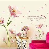KUANGJING Abnehmbare WandaufkleberGroße Größe (210 cm * 140 cm) Romantische Rosa Blumen Wandaufkleber für Wohnzimmer Schlafzimmer Valentinstag Kunst Aufkleber Dekoration