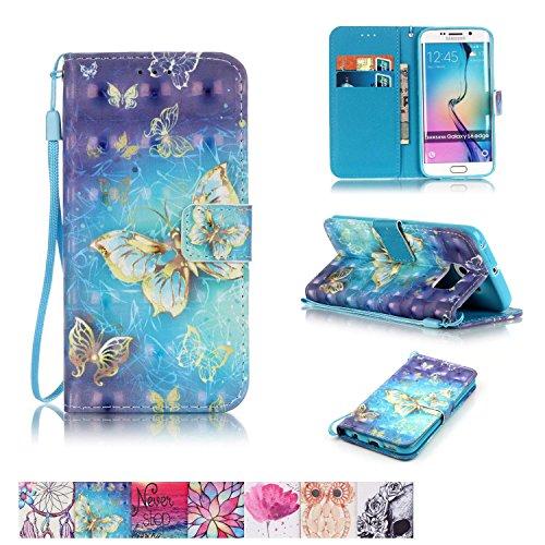 , firefish [Ständer] [/Cash Slots] Impact Dispersion PU Leder Brieftasche Flip Cover mit Handschlaufe für Samsung Galaxy S6Edge Samsung Galaxy S6 Edge schmetterling ()