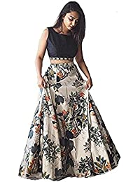 Floral Trendz Women's Benglori Satin Silk Digital Printed Semi-stitched Lehenga Choli.