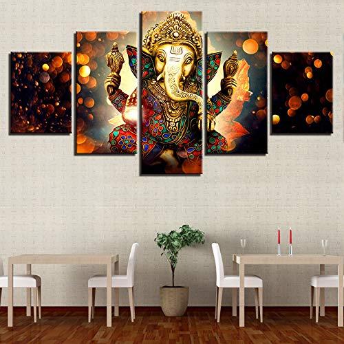 adgkitb canvas HD Quadro su Tela Quadro Decorativo Moderno 5 Pezzi Testa di Elefante Indiano Dio Camera da Letto Cuadros Decoracion Salon
