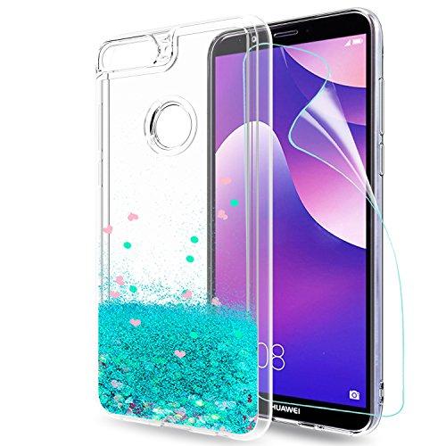 LeYi Hülle Huawei Y7 2018/Honor 7C/Y7 Prime 2018/Y7 Pro 2018 Glitzer Handyhülle mit HD Folie Schutzfolie,Cover Bumper Silikon Treibsand Schutzhülle für Case Huawei Y7 2018 Handy Hüllen ZX Turquoise