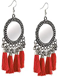 Zephyrr Fashion Hanging Hook Mirrors And Thread Tassels Dangle Earrings For Girls and Women
