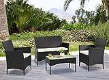 YOUKE 4 Places Salon de Jardin Table de Jardin en resine tressee chaises Salon d'exterieur Poly rotin - Noir