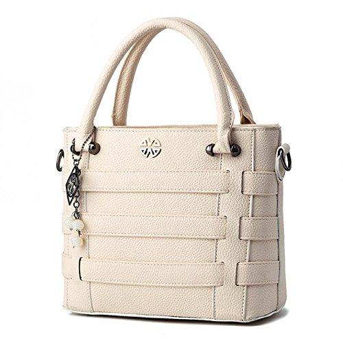 LDMB Damen-handtaschen PU Leder OL Pendler Atmosphäre Frauen geprägte Volltonfarbe Umhängetasche Messenger Tasche White
