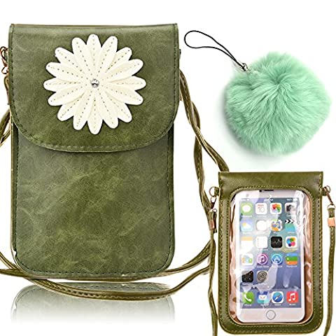 Cell Phone Bag,Vandot PU Leather Cellphone Screen Touch Purse Crossbody Single Shoulder Bag with Display View Window for iPhone 7/7 Plus/6S/6S Plus/SE/5S/5,Galaxy S3/S4/S5/S6/S7edge/Note 3/4/5-Flower [GREEN]+Furry Ball Pendant